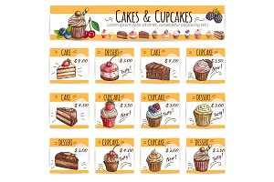 Dessert banner sketch cakes, cupcakes price cards