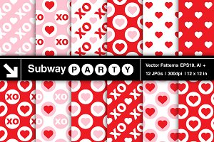 Vector Valentine Heart & XO Patterns