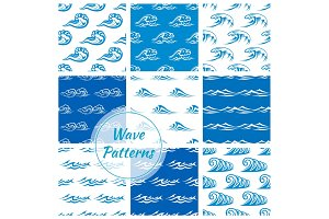 Waves, water splashes seamless patterns set
