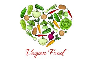 Vegan food heart poster of vegetables