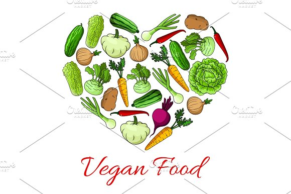 Vegan Food Heart Poster Of Vegetables