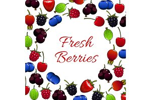 Fresh forest berry and garden berries poster