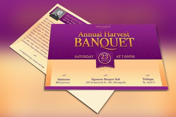 Church Banquet Invitation Template Psd Template Mockup