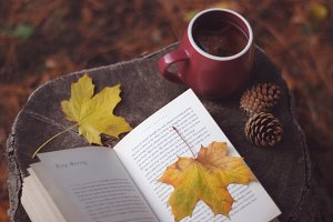 Autumn tea and a book