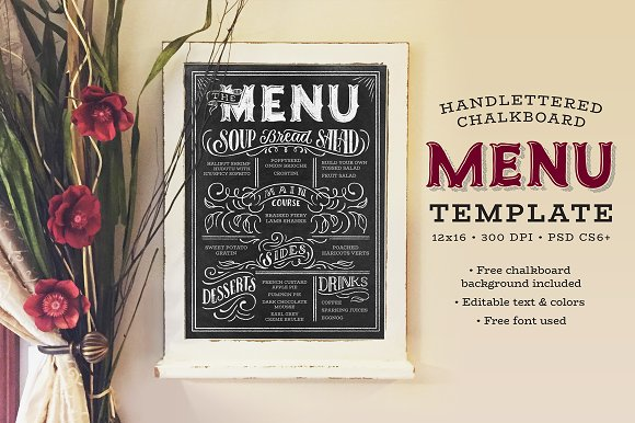 handlettered chalkboard menu templates creative market