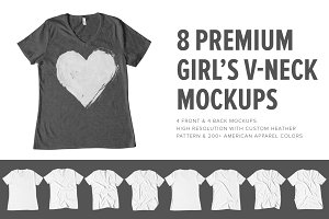 Premium Girls V-Neck T-Shirt Mock Up