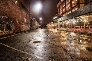 Asphalt street road in night city