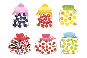 Fruits  and berries jam vector