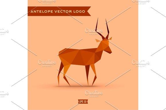 Antelope Polygon Logo Vector Illustration