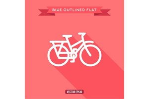 Outlined bicycle flat, vector icon with shadow