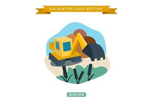 Excavator near a pond Vector illustration