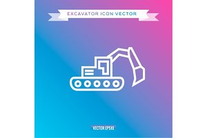 Excavator Icon, outline vector logo