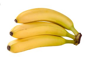 Three yellow bananas isolated on white background