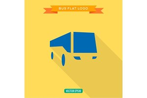 Bus Flat style Icon Set vector