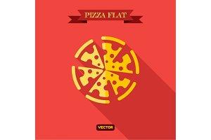 Pizza Food Flat Icon vector illustration