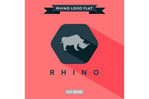 Icon rhino on flat style logo vector illustration