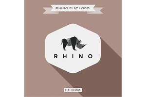 Rhino logo origami polygons vector illustration