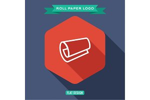 Icon roll of paper, papyrus, outline logo, vector illustration