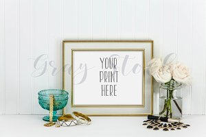 Horizontal Gold Cream Frame Mock Up