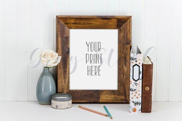 Wood Desktop Frame Mock Up