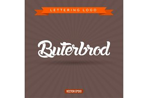 buterbrod, text lettering logo, vector illustration