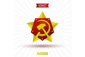 Soviet star hammer and sickle, volume, vector illustration