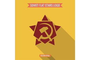 Logo star, hammer and sickle, flat style vector illustration
