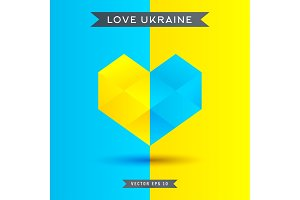 Love Ukraine symbol. 3D heart icon, vector illustration