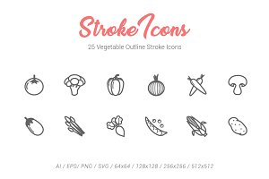 25 Vegetable Outline Stroke Icons