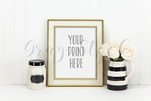 Gold & Cream Frame Mockup w/Roses