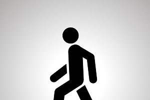 Walking man simple black icon