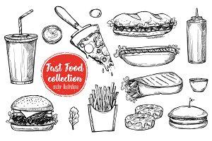 Fast food vintage illustration #2