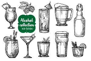 Alcohol vintage illustration