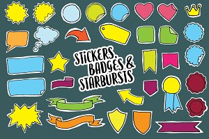 Stickers, Badges & Starbursts Set
