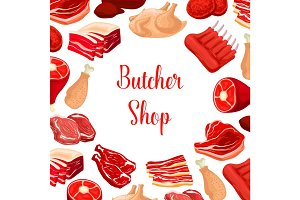 Butcher shop, butchery meat products vector poster