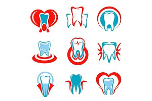 Dentistry tooth vector icons set
