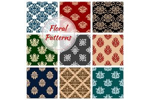 Floral ornate vector patterns set