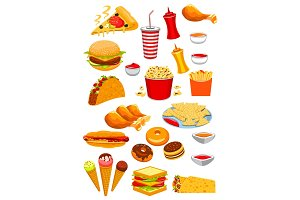 Fast Food snacks and drinks vector icons