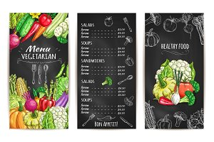 Vegetarian menu with vegetable dishes chalk sketch