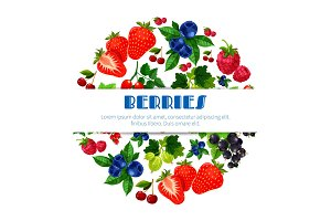 Fresh berries vector poster of berry bunch