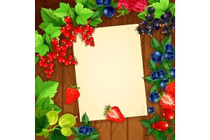 Berries vector recipe or message note blank form