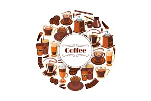 Coffee vector poster of espresso, latte hot drinks