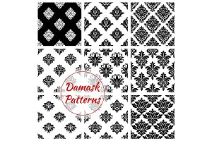 Damask seamless patterns of floral ornate tracery