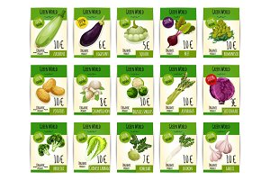 Vegetables vector price cards or tags set