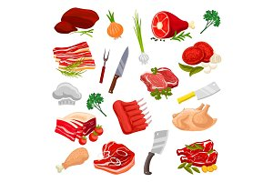 Butchery meat, butcher shop products vector icons
