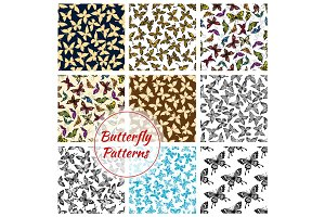 Butterflies and moth seamless patterns set