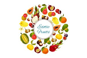 Exotic and tropical fresh fruits vector poster
