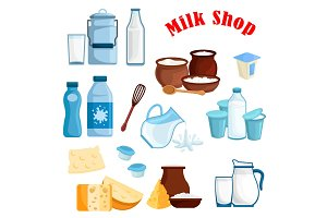 Milk shop and dairy products vector isolated icons