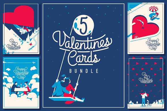 5 Valentine's Day Romantic Cards in Illustrations