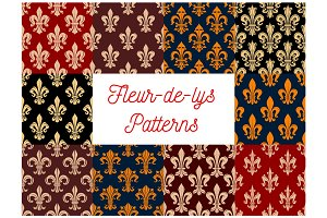 Floral fleur-de-lis french royal lily patterns set
